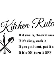 Wall Stickers Wall Decals, Kitchen Rules English Words & Quotes PVC Wall Stickers