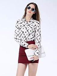 flores de moda feminina impresso camisa de manga longa