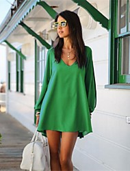 vestido del color sólido de la manera de las mujeres