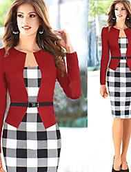 Monta Women's Fashion Casual Check Dress