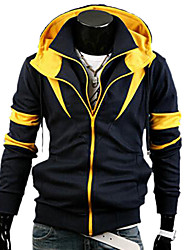 Feilicos Men's Fashion Hoodie Contrast Color Two Piece Like Jacket