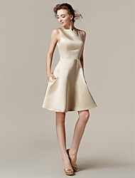 Lanting Bride Knee-length Satin Bridesmaid Dress A-line / Princess Bateau Plus Size / Petite with Pockets