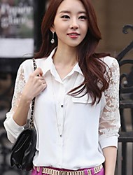 Women's White Blouse , Shirt Collar Long Sleeve Lace