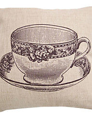 "createforlife® 18 ""ретро эскиз картины чашка кофе хлопок белье квадрат декоративные подушки"