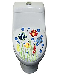 Wall Stickers Wall Decals, Cute Colorful PVC Removable the Sea World of Toilet Seat Wall Stickers.