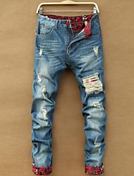 Men's Hole Design Long Jeans