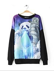 impressão panda das mulheres camisolas soltos