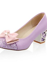 Women's Shoes Round Toe Chunky Heel Pumps with Bowknot Sequin Shoes More Colors available