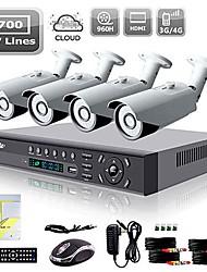 liview® 8-kanaals hdmi 960H netwerk dvr 4x 700TVL outdoor dag / nacht bewakingscamera
