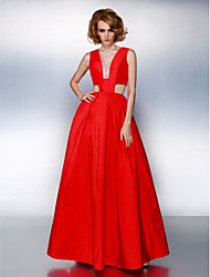 A-Line V-neck Floor Length Taffeta Prom Formal Evening Dress with Sash / Ribbon Pleats by TS Couture®