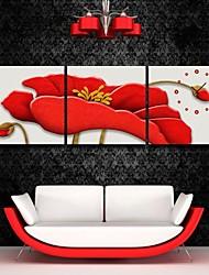 e-Home® el reloj de flores de color rojo en la lona 3pcs