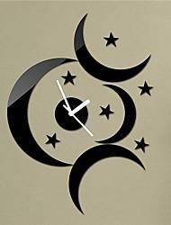 """18 """"h modernen Stil schwarze Mond Sterne 3d diy Acrylspiegel Wanduhr Dekoration"""