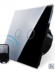 EU Standard,Livolo Black Pearl Crystal Glass Panel,Wireless Function Home Wall Curtain Switch,110-250VAC