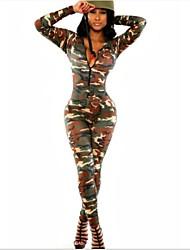 женские круглые шеи камуфляж печати солдаты армии Купальник длинный рукав комбинезоны