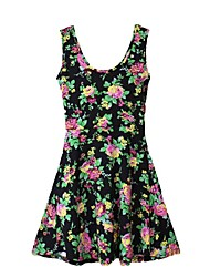 Women's Floral Print Crew Neck Sleeveless Dress