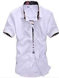 Masculino Camisa Casual Estampado Manga Curta Algodão / Poliéster Preto / Branco