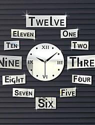 """22 """"carrés forme unique de style de numéro de h reflètent décoration 3d bricolage miroir acrylique horloge murale"""