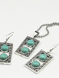 Toonykelly Vintage Antique Silver Oblong Turquoise Stone(Earring and Necklace) Jewelry Set