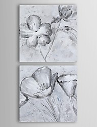 Oil Painting Modern Floral Uttermost Florals in Black And White Art Set of 2 Hand Painted Canvas with Stretched Frame