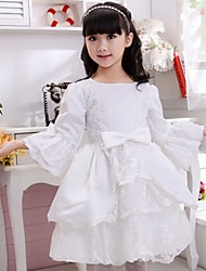 Snotty kid's Fashion Cute Elegance Round Collar Long Sleeve Bow Dress