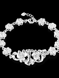 Women's Fashion Flowers Design Silver Plated Bracelet