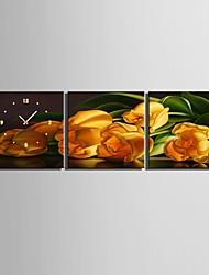 e-home® amarelo relógio tulipa em lona 3pcs
