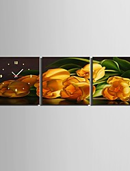 e-FOYER jaune tulipe horloge dans 3pcs toile