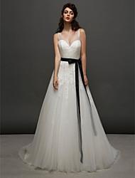 Lan Ting A-line Wedding Dress - Ivory Court Train V-neck Tulle