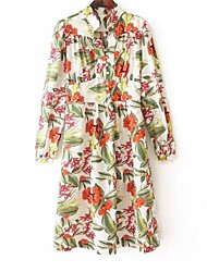 vestido de manga larga cuello alto impresa de las mujeres