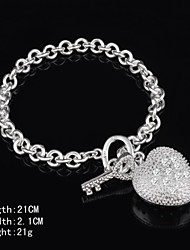 Fashion Sterling  Silver Heart Shaped Dangle Women's Bracelet