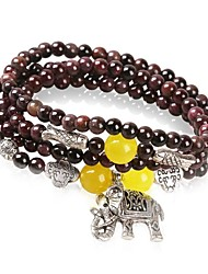 Women's Fashion Elephant Garnet Crystal  Lucky Multiturn Buddha Beads Bracelet