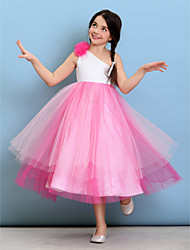 Lanting Bride® Tea-length Tulle Junior Bridesmaid Dress Ball Gown One Shoulder with Flower(s)