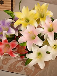 1PCS Artificial Lily PU Flowers 5 Heads for Wedding Party Home Decor