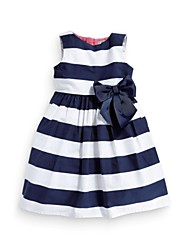 Girl's White Dress,Striped Cotton Blend Winter / Spring / Fall
