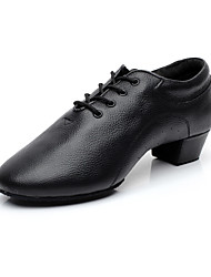 "Non Customizable Men's Latin Ballroom Leather Heels Lace-up Low Heel Black 1"" - 1 3/4"""