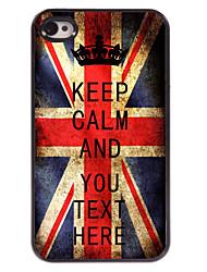 caja personalizada bandera del Reino Unido a mantener el caso del diseño metal tranquilo para el iphone 4 / 4s