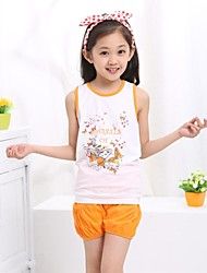 Girl's Cute Summer Round Collar T-shirt with Shorts 2 Pcs Printing Clothing Sets, Childrens Clothing Set