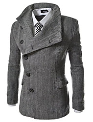 Playgame Men's Casual Wide Lapel Neck Coat