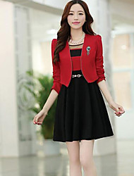 Women's Sweet Two Piece Short Coat And Dress(blazer&dress)