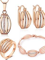 Boucles d'oreilles en or 18 carats collier de placage bracelet bague ensemble