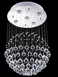 arañas de cristal llevó la iluminación de 5 luces de plata moderna canpoy redonda de cristal k9 transparente accesorios salón