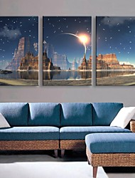 E-HOME® Stretched LED Canvas Print Art The Candle Flash Effect LED Flashing Optical Fiber Print Set of 3