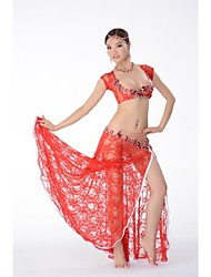 Belly Dance Outfits Women's Performance Chiffon Satin / Lace Beading / Crystals/Rhinestones / Pattern/Print Short Sleeve DroppedM: 95cm