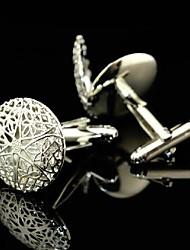 toonykelly cobre oca de prata estrela abotoaduras homens da moda (prata) (1 par)