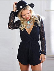 Women's Black Jumpsuits , Sexy/Lace Long Sleeve