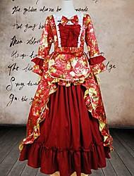 Long Sleeve Floor-length Red FloralCotton Classic Lolita Dress