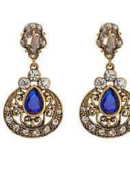 Woman's  Retro Gold Zircon Crystal Earring
