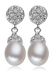 classique perle d'eau douce le strass des femmes à prévenir les allergies boucles d'oreilles