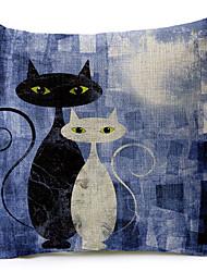 gatos preto e branco de algodão / linho impresso capa de travesseiro decorativo