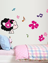 Wall Stickers Wall Decals, Lovely Girl Music PVC Wall Stickers